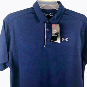 New! Under Armour Heat Gear Polo Shirt Navy Blue L